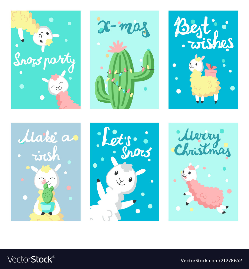 Alpaca Christmas Greeting Cards Templates Vector Image - Christmas greeting card template