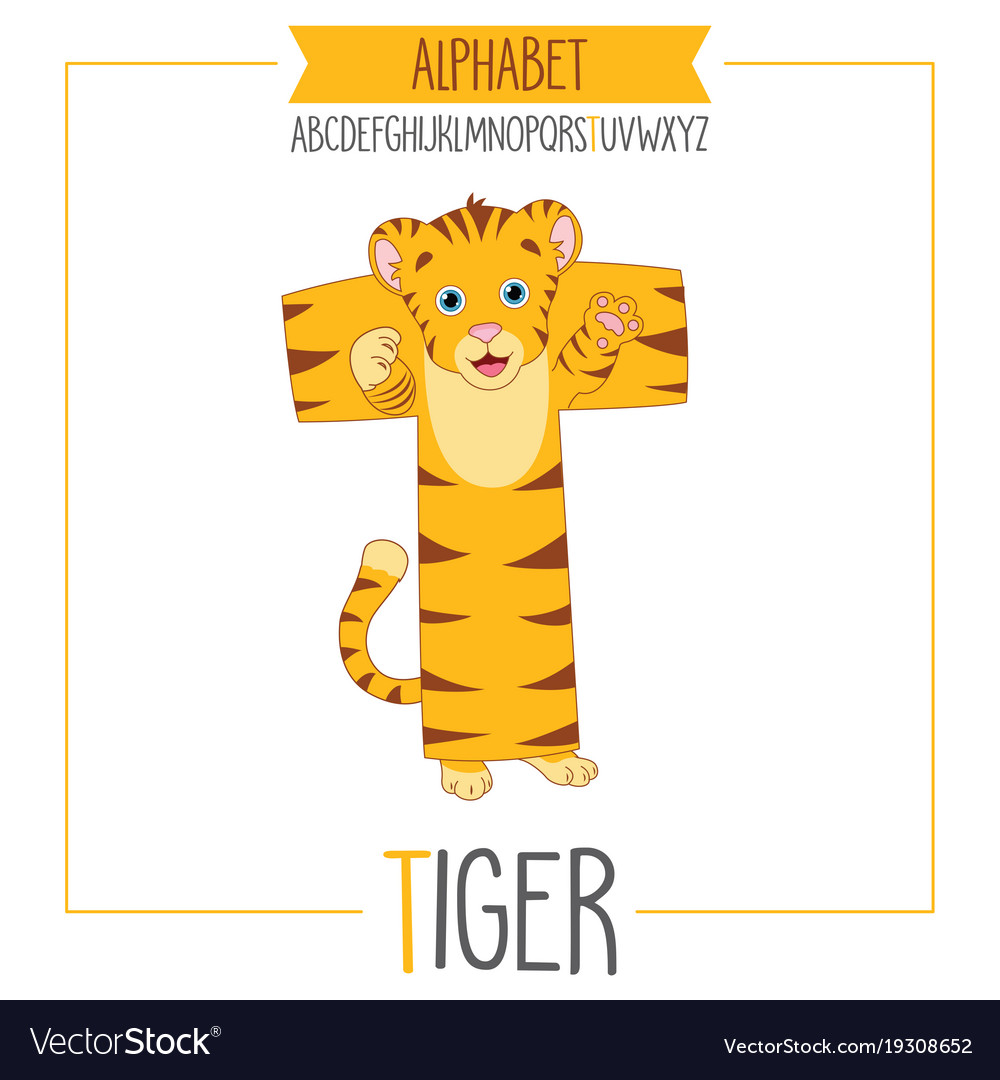 Alphabet letter t and tiger
