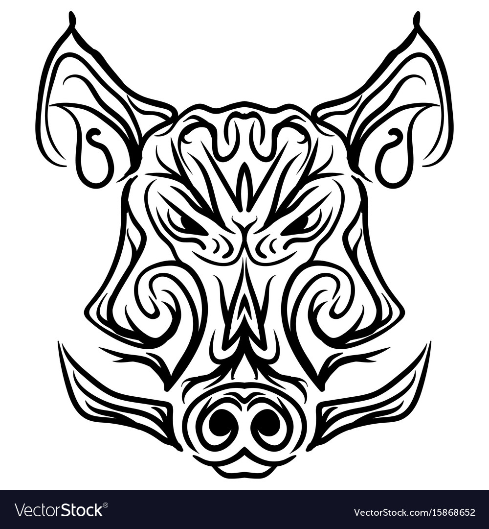 Boar head black and white isolated tattoo