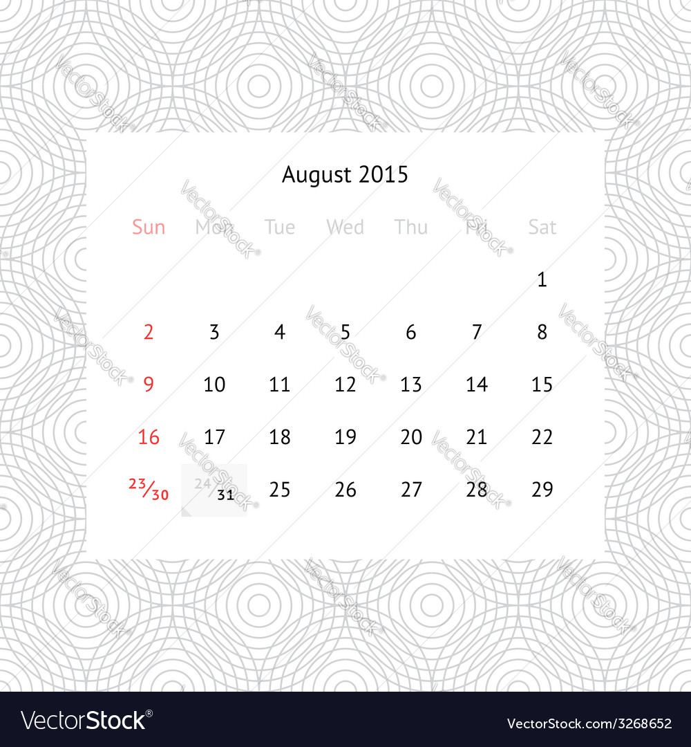 Calendar page for August 2015