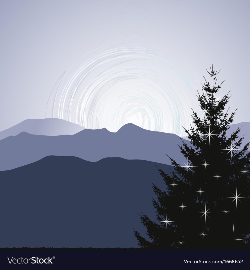 Mountain Christmas Tree.Christmas Tree Silhouette On A Mountain Background