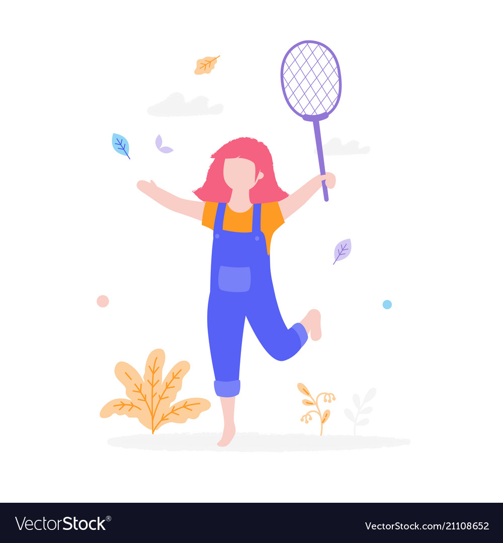 Cute girl playing badminton outdoors in the park