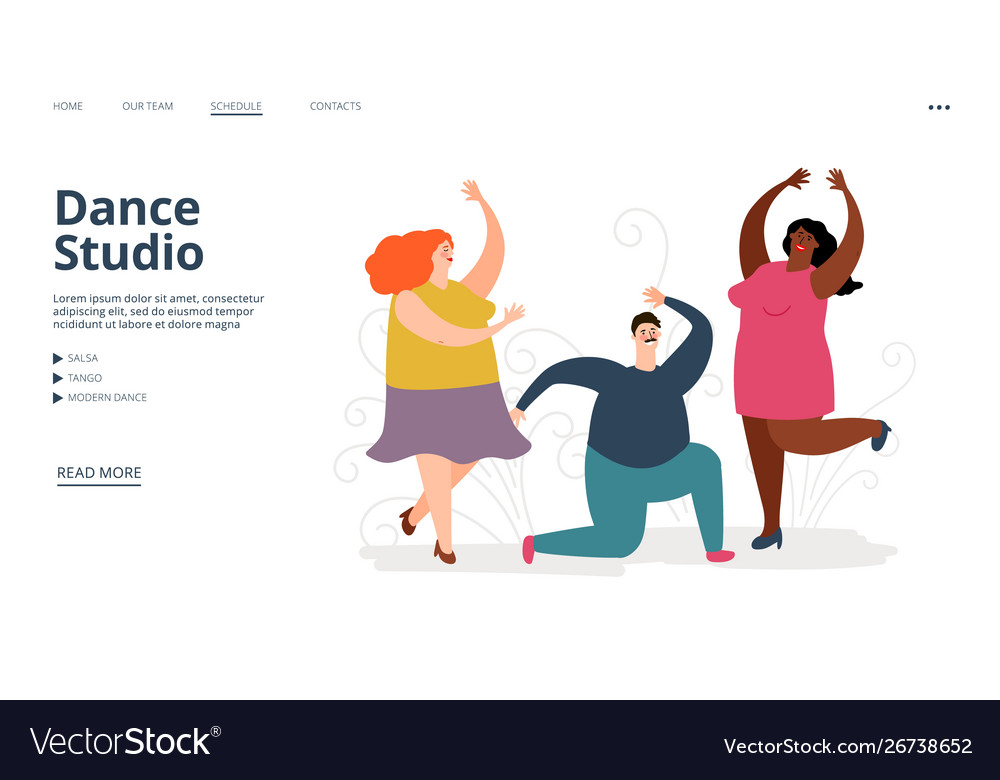 Dance studio landing page dancing people