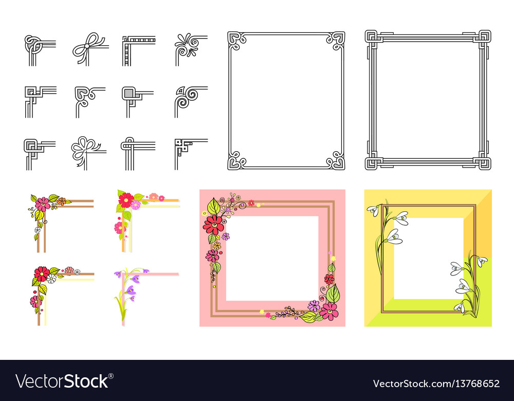 Decorative colorful frame collection on white