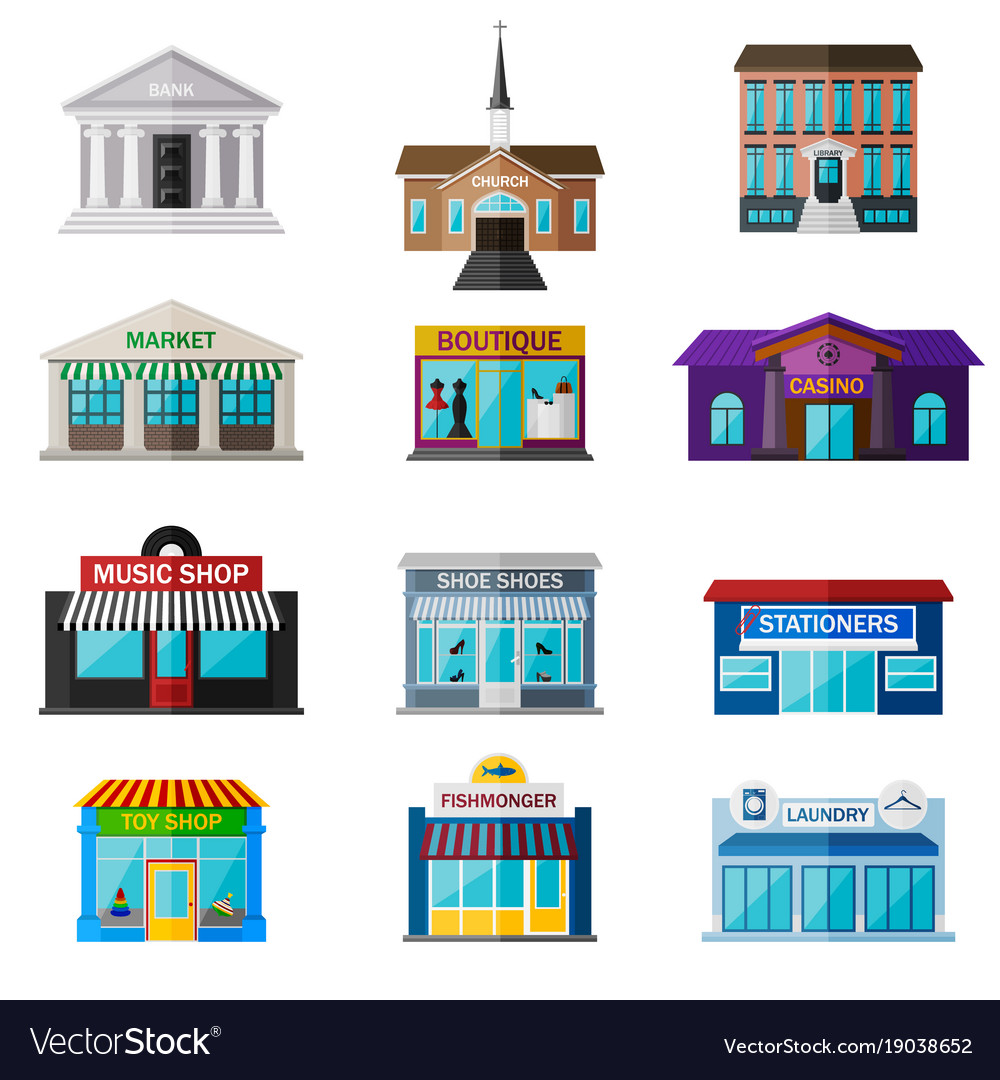 Different shops institutions and stores flat icon vector image