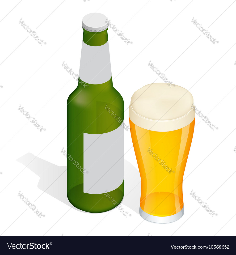 Isometric Bottle of beer with drops and Glass