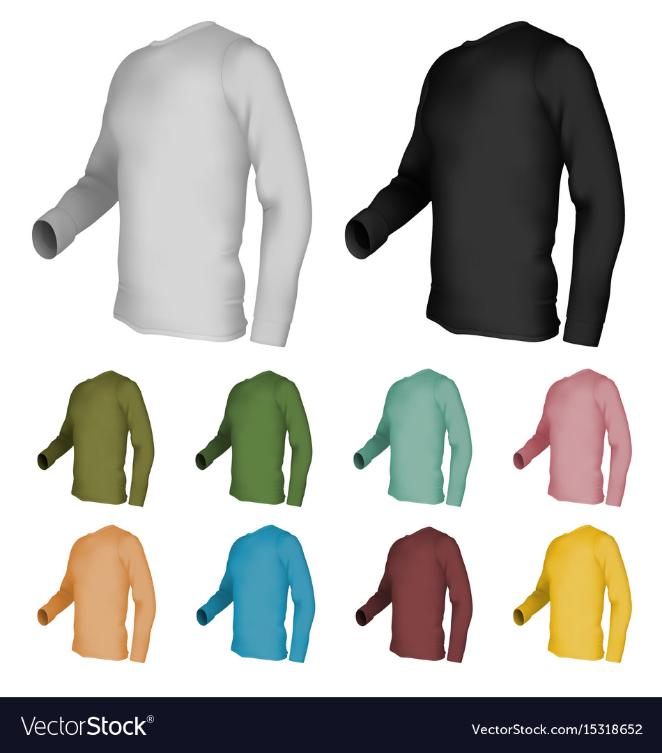 70fb6b4c80c Long sleeve blank t-shirt template Royalty Free Vector Image