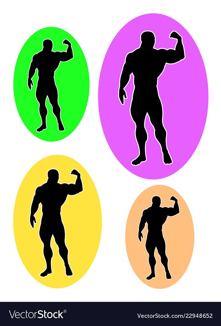 Male bodybuilder logo silhouette