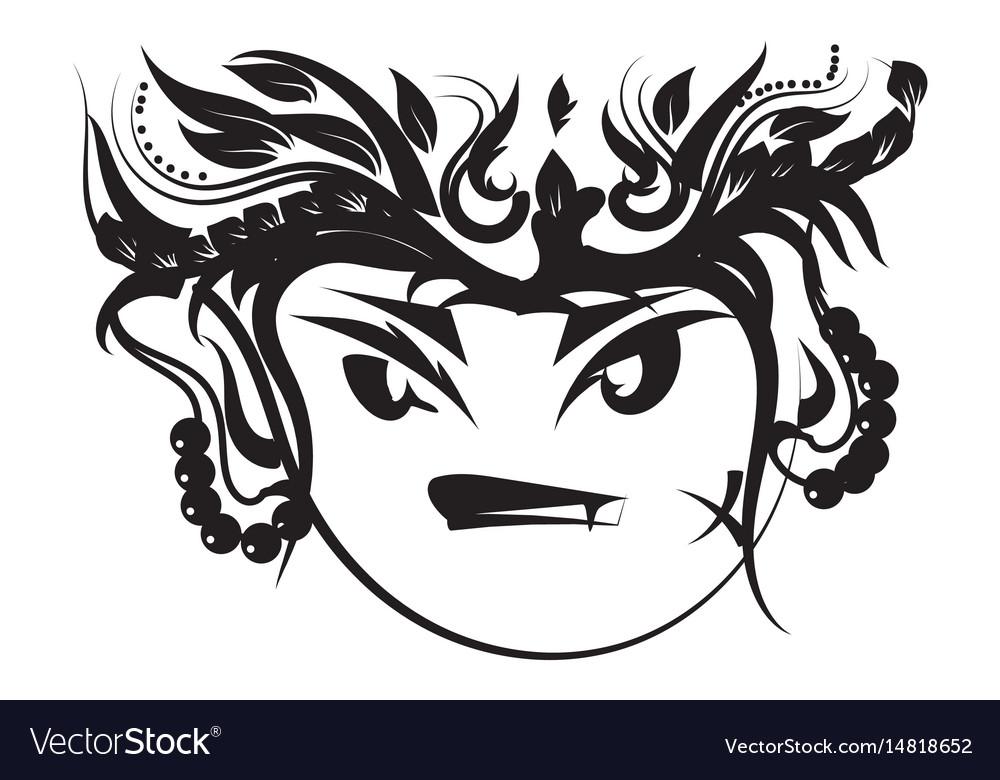 116b74fa56a9b Monkey cartoon tattoo art tribal Royalty Free Vector Image