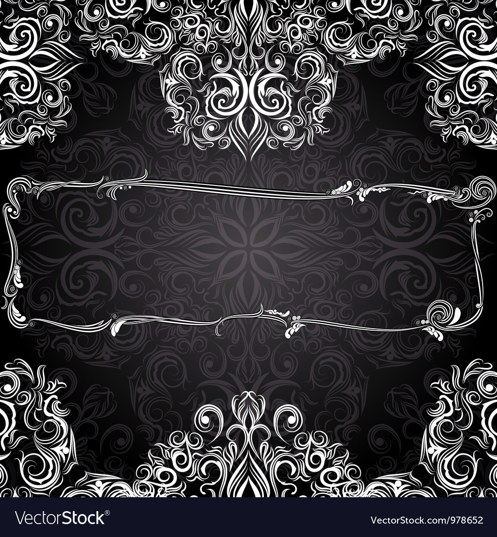 Romantic black and white vintage invitation vector image