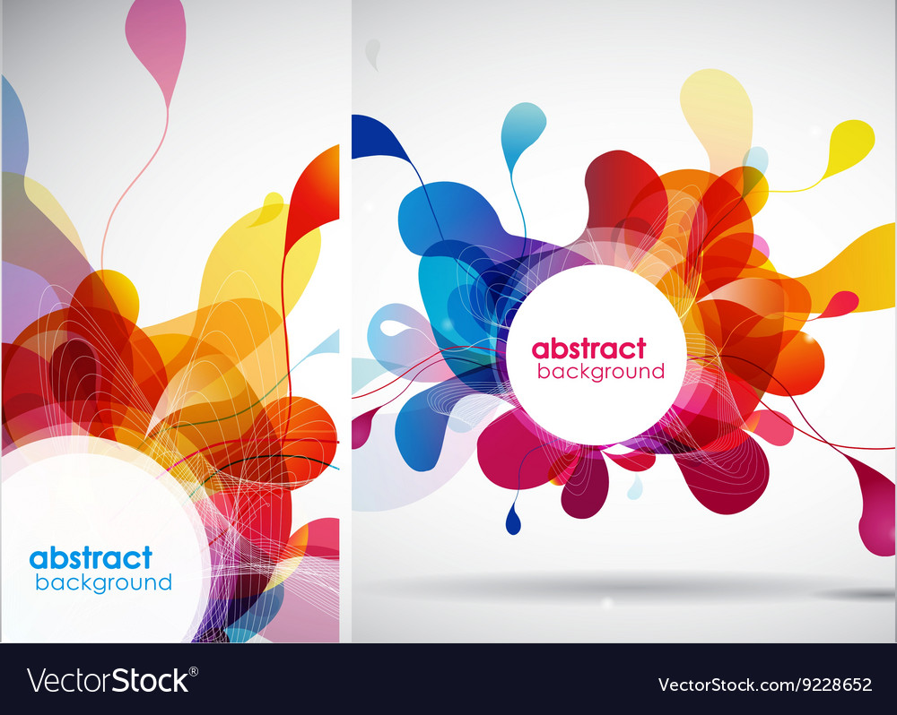 Set of abstract colored backgrounds with leafs