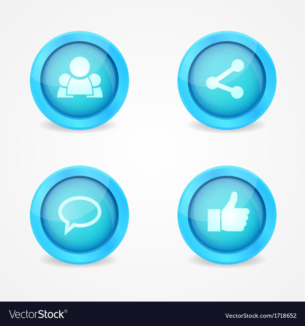 Set of glossy social icons