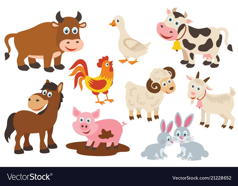 Set of isolated farm animals