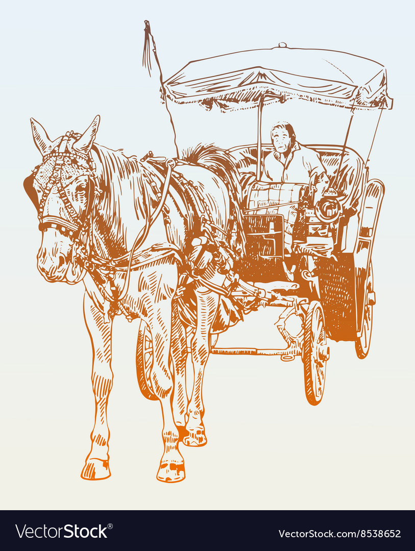 Sketch drawing of horse driver