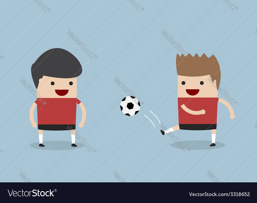 Two men playing soccer or football