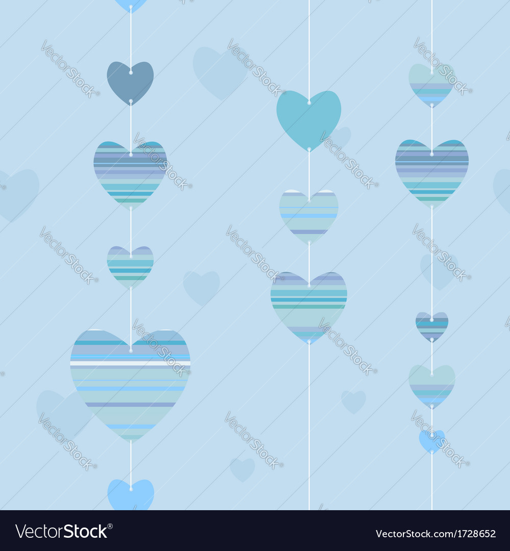 Valentine pattern with striped hearts in blue