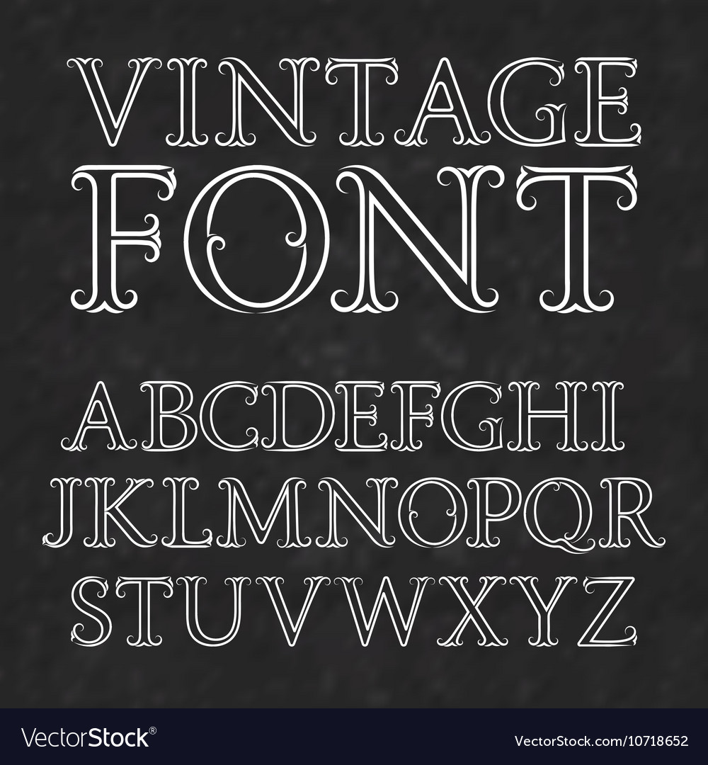 vintage letters with flourishes vintage font in vector image