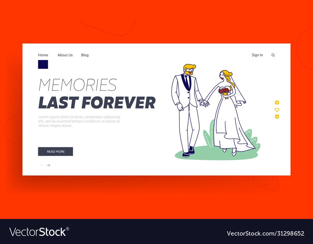 Wedding ceremony landing page template happy
