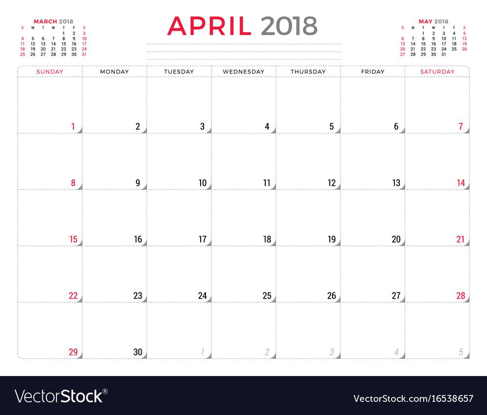 April 2018 calendar planner design template week