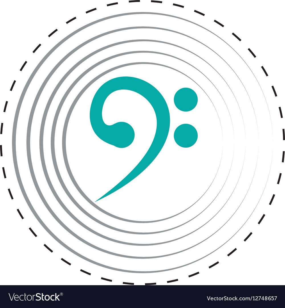 Bass clef music note design dotted line vector image