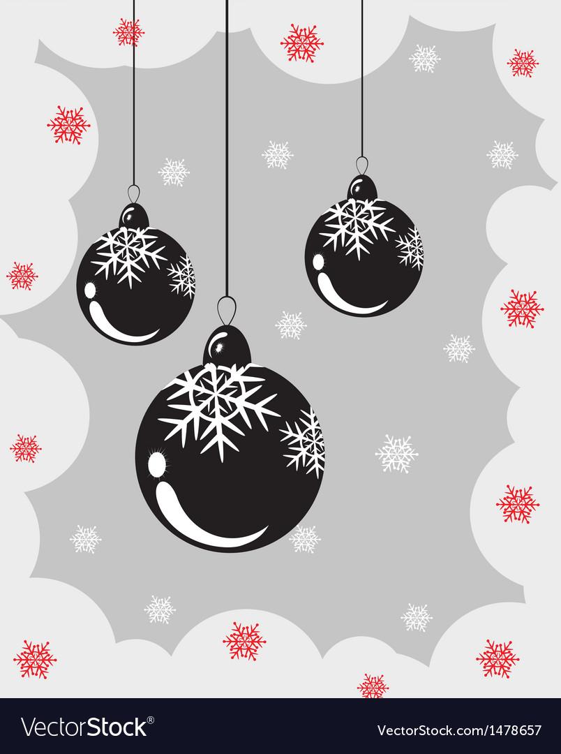 Christmas balls with snowflakes vector image