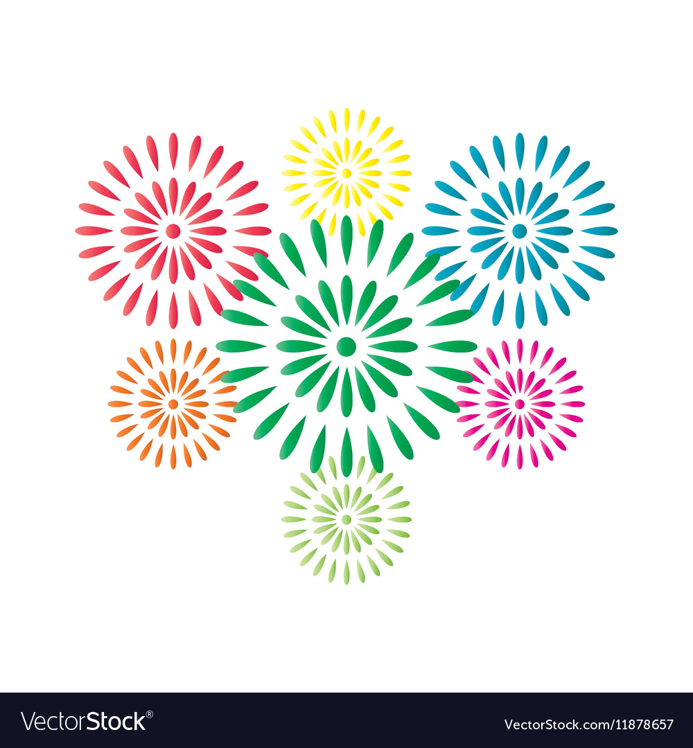 Fireworks colorful isolated on white background