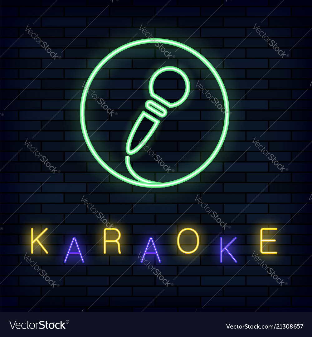 Glowing light karaoke on brick background musical