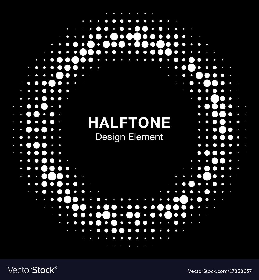 Halftone circle frame black abstract random dots