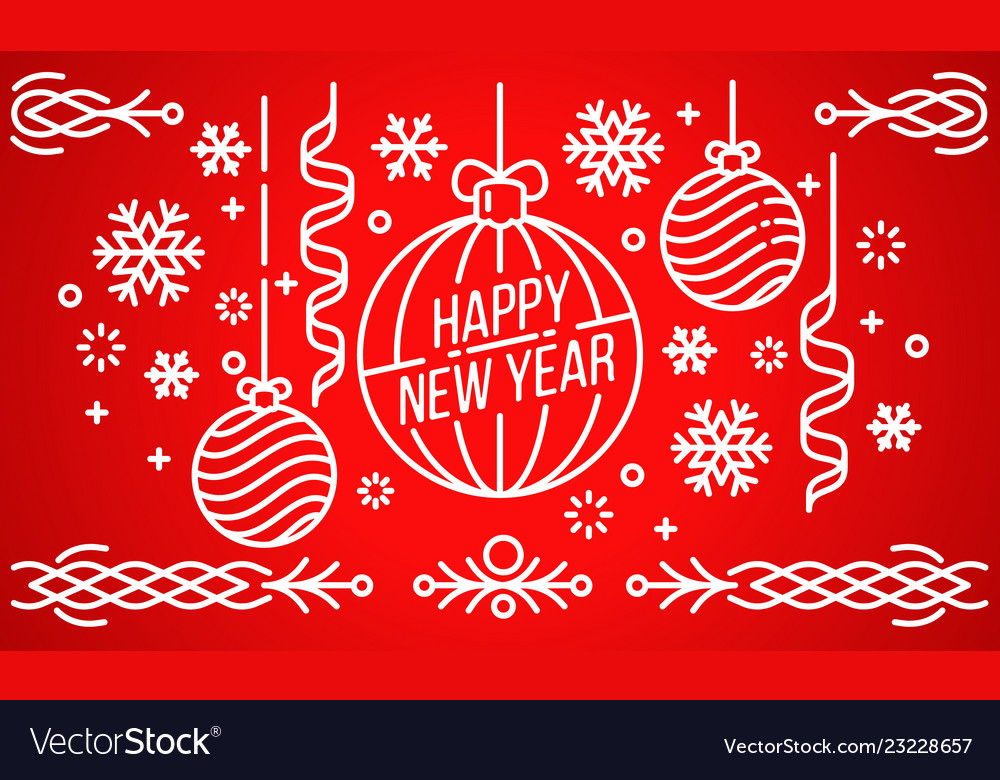 Happy new year banner outline style