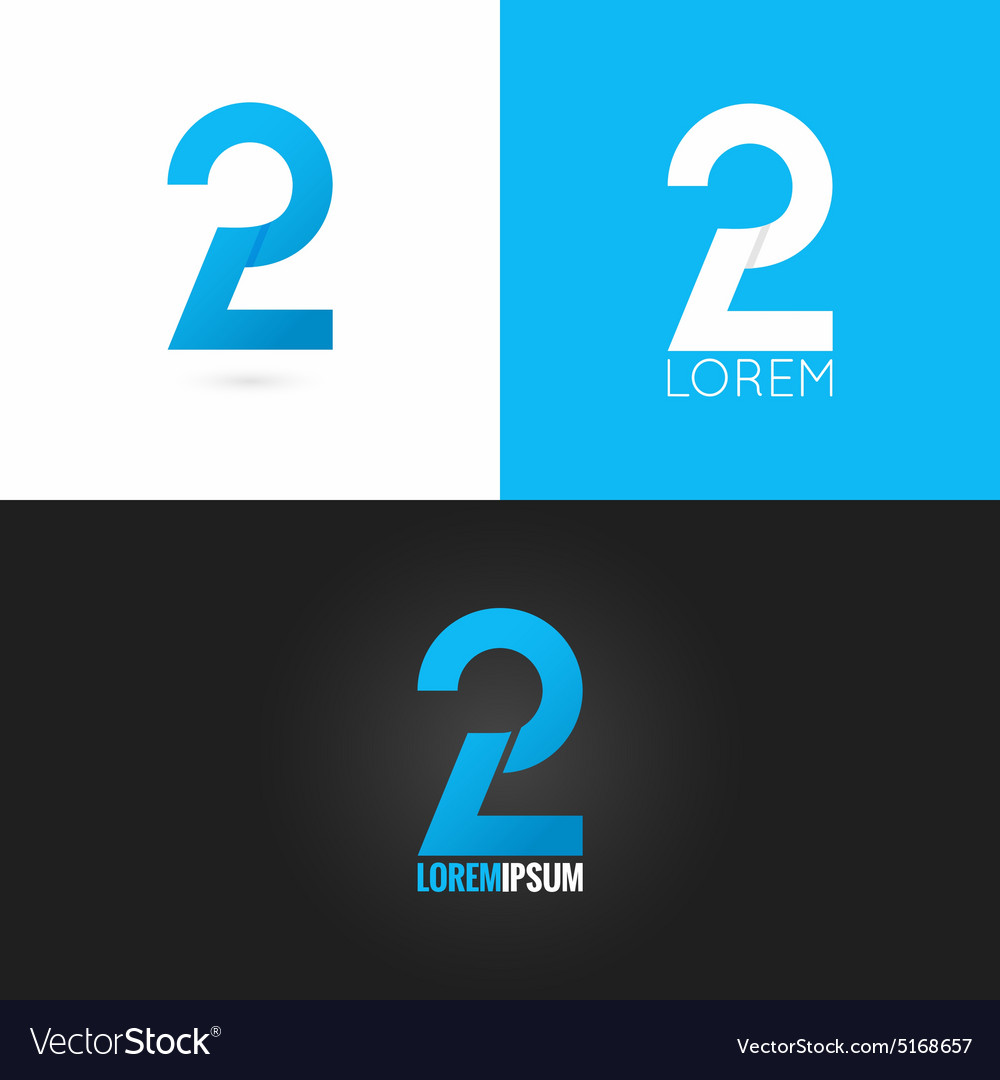 Number two 2 logo design icon set background