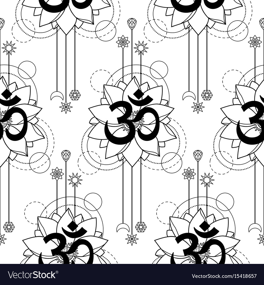 Om And Lotus Tattoo Seamless Pattern Royalty Free Vector