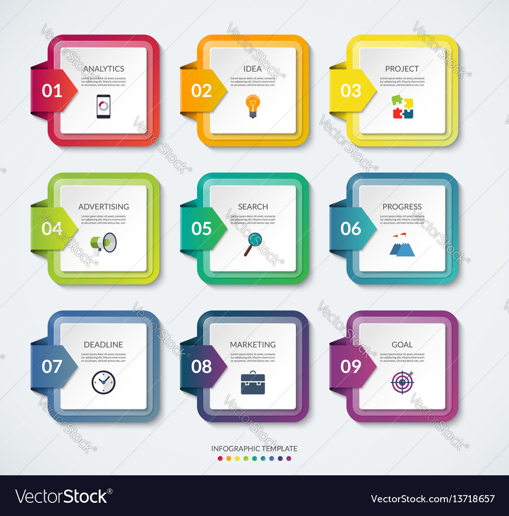 Set 9 square templates for infographics