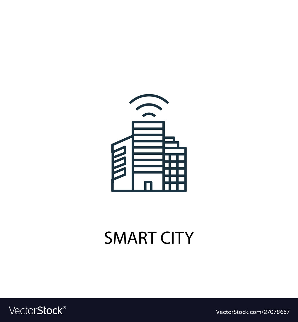 Smart city concept line icon simple element