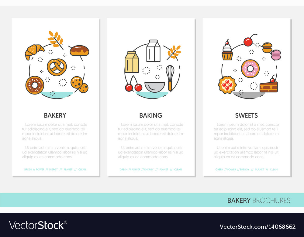 Bakery And Desserts Business Brochure Template Vector Image - Bakery brochure template
