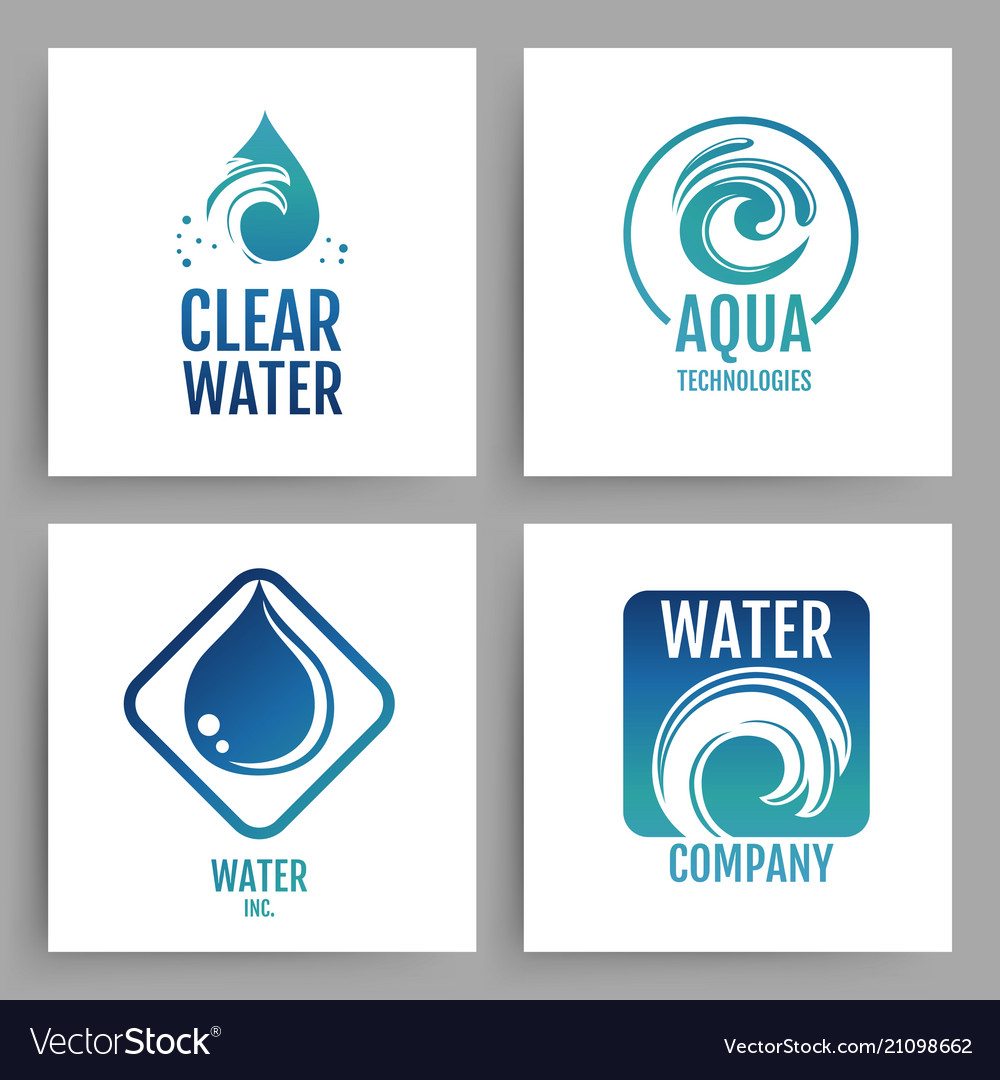 Colorful water company logos clean water emblem