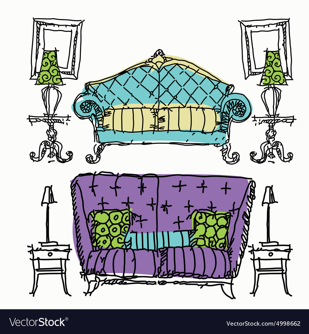 Contemporary furniture doodles vector image
