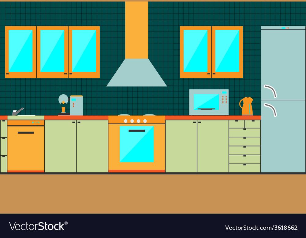 Flat Kitchen Interior Cabinets Accessories Vector Image