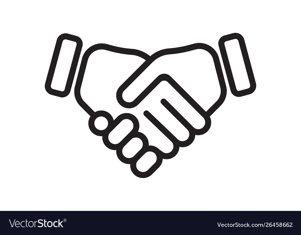 Hand shake line icon business handshake