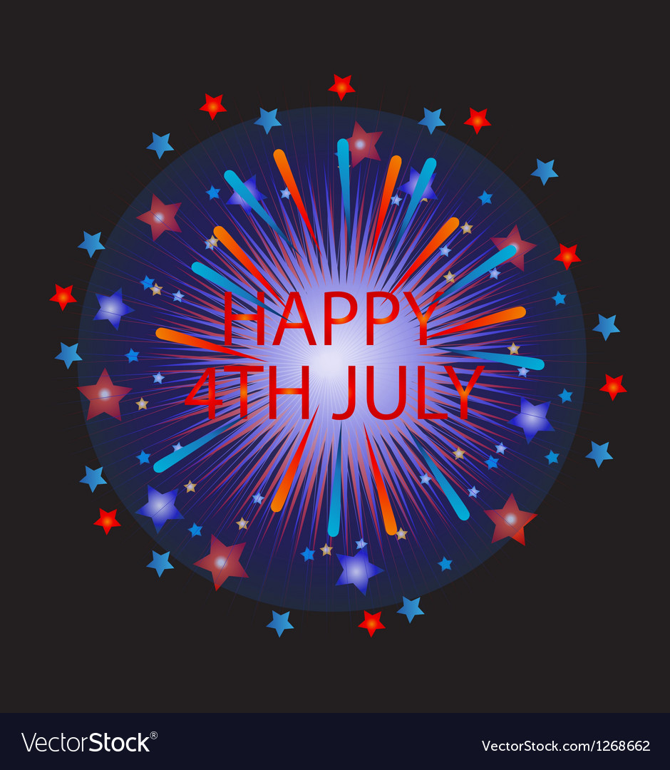 Happy 4th of July Fireworks vector image