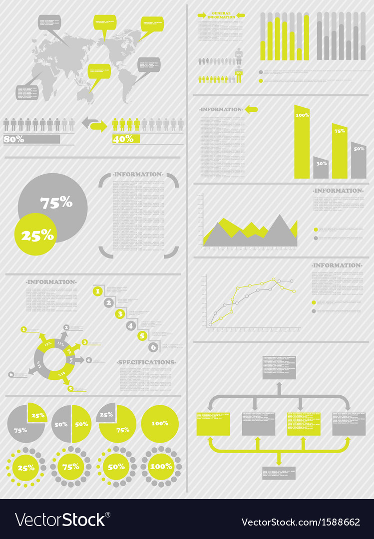 INFOGRAPHIC DEMOGRAPHICS 5 YELLOW vector image