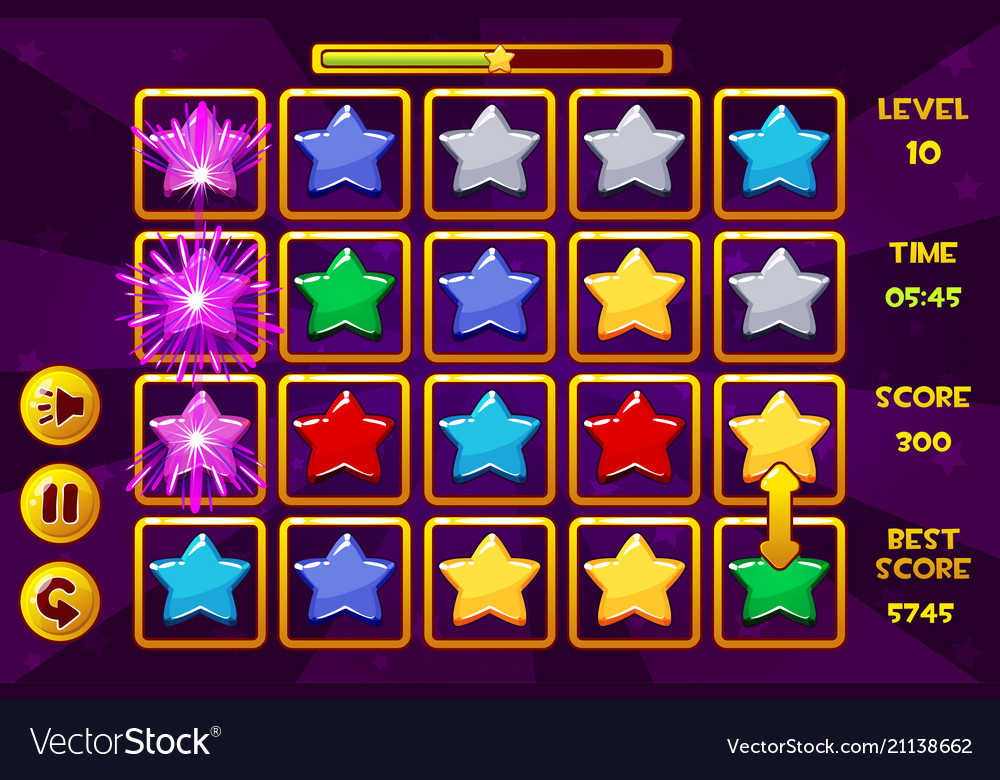 Interface star match3 games multicolored stars