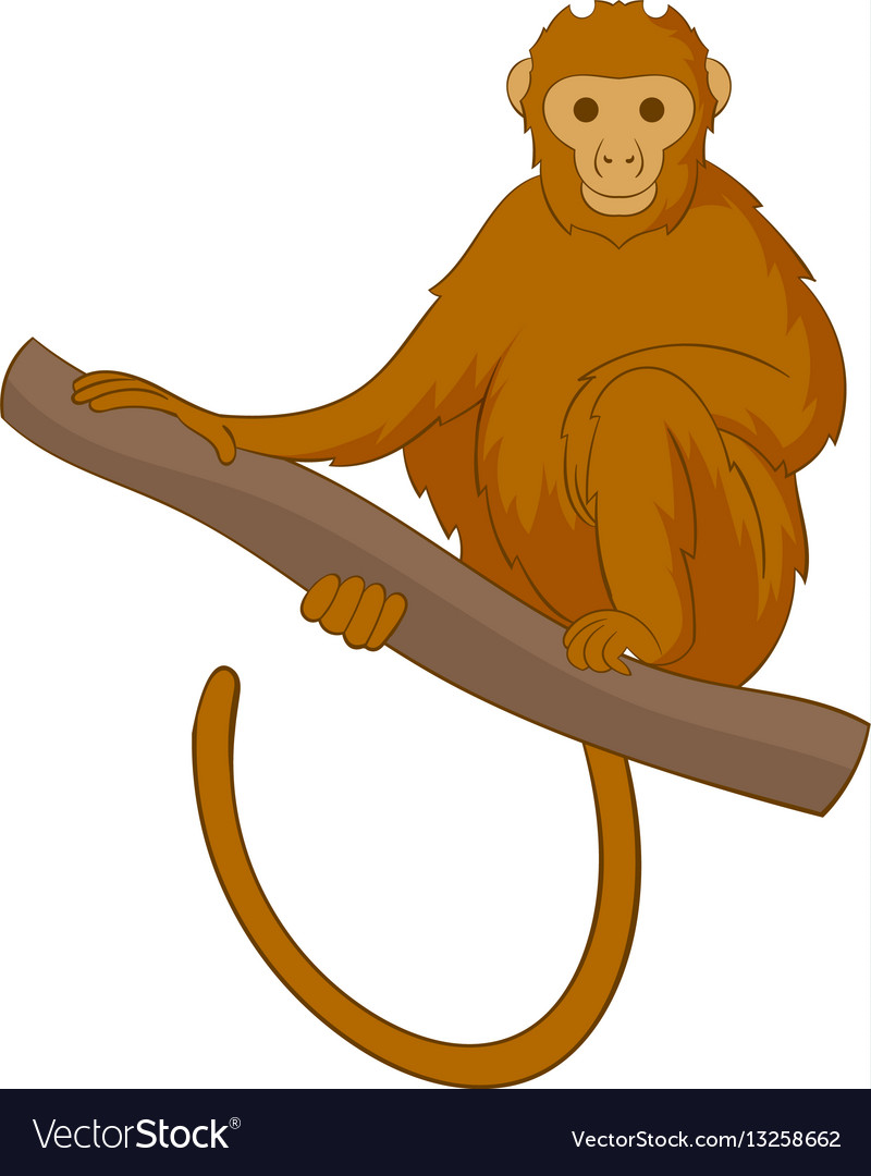 Monkey sitting on a branch icon cartoon style