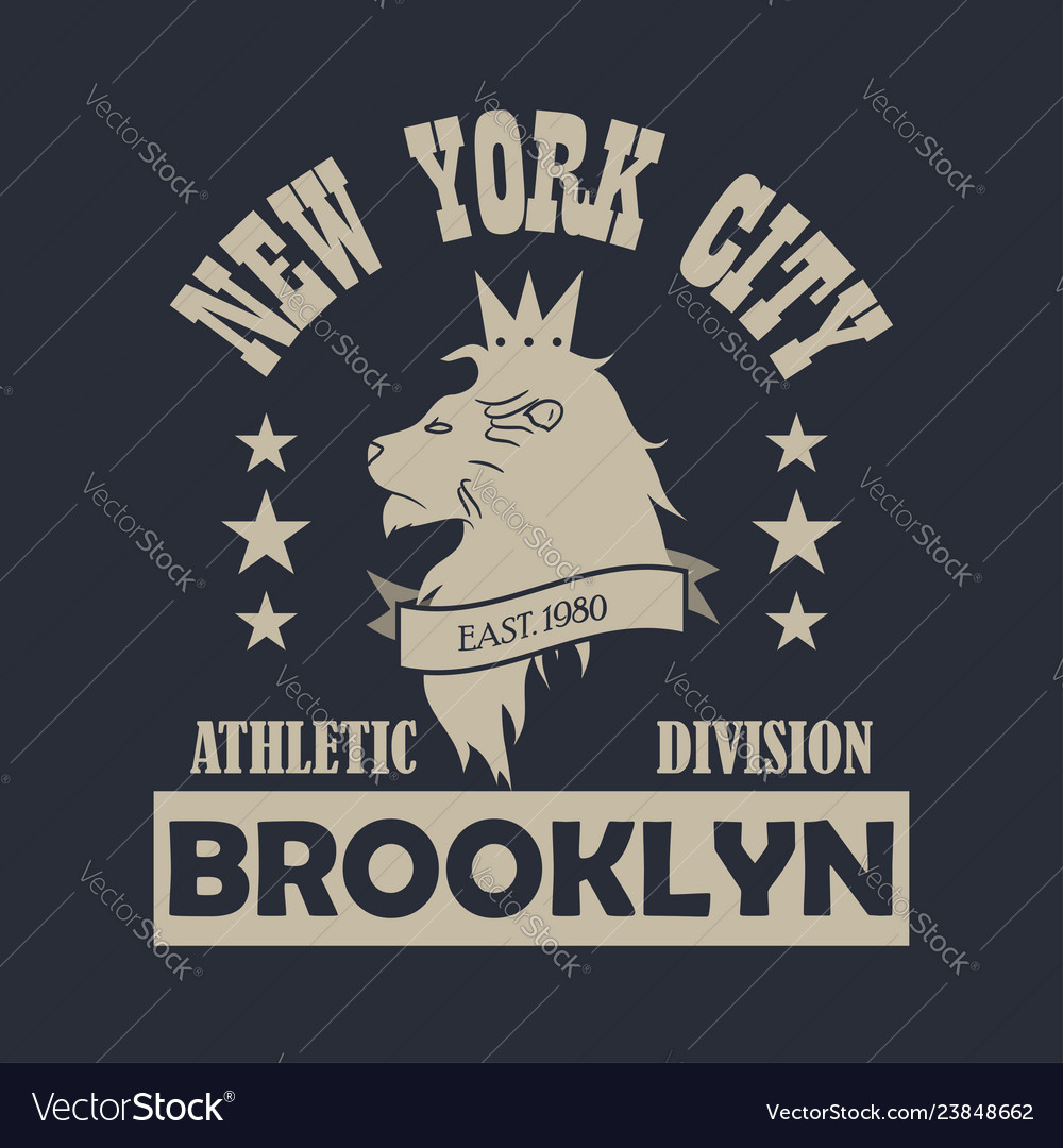 New york city brooklyn typography print with lion