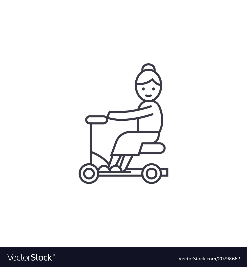 Old woman on scooter line icon sign
