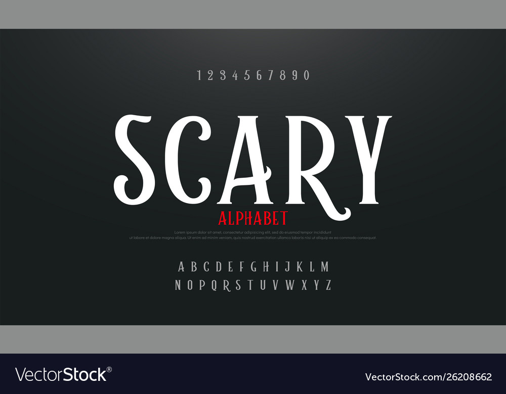 Scary movie alphabet font typography horror