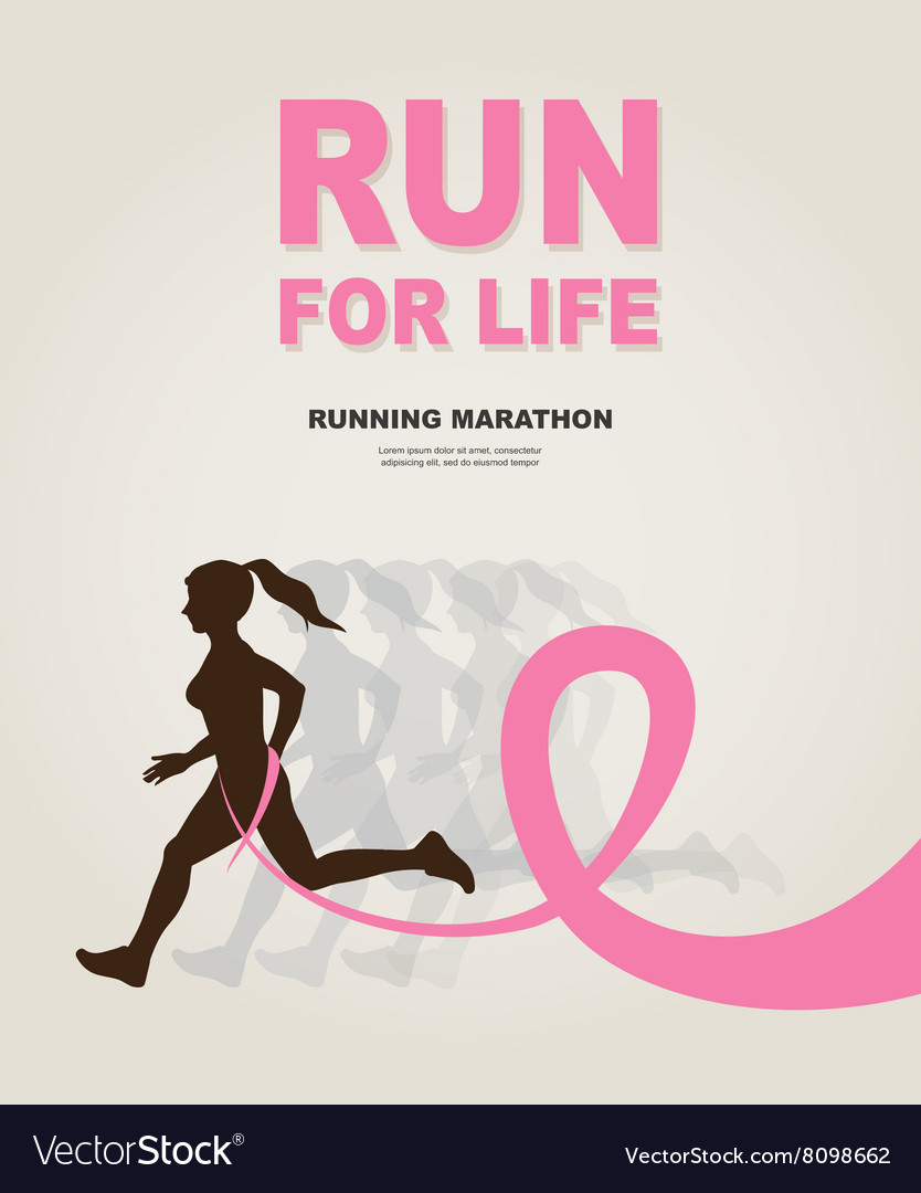 Sport Woman with Running Pink Ribbon Breast