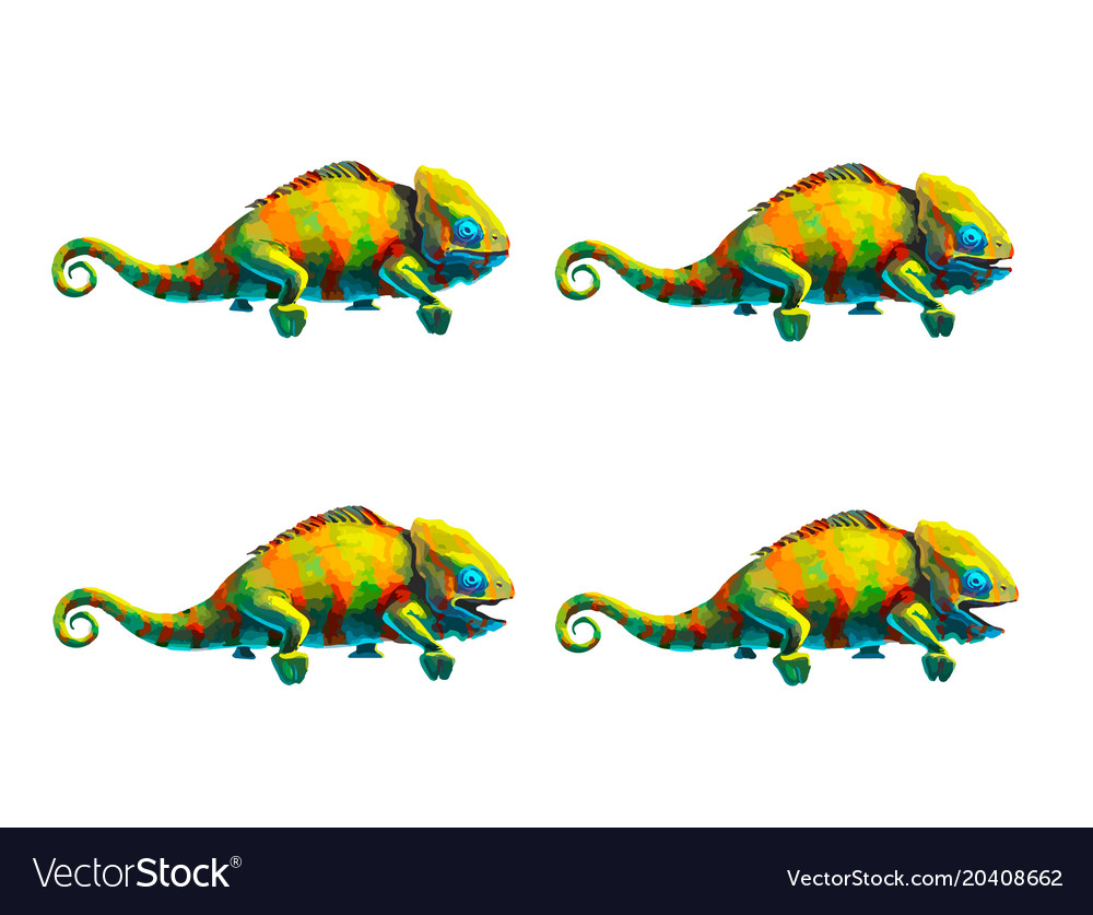 Sprite sheet of cute chameleon game art animation