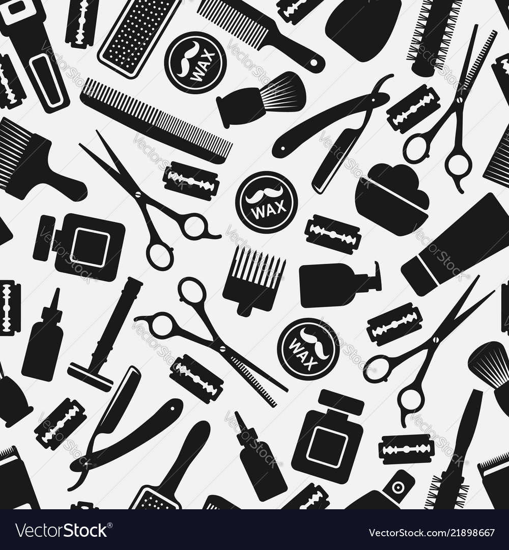 Black and white barbershop seamless pattern