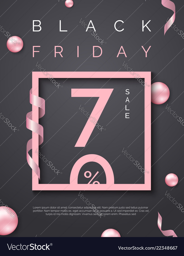 Black friday sale poster with pink square frame on