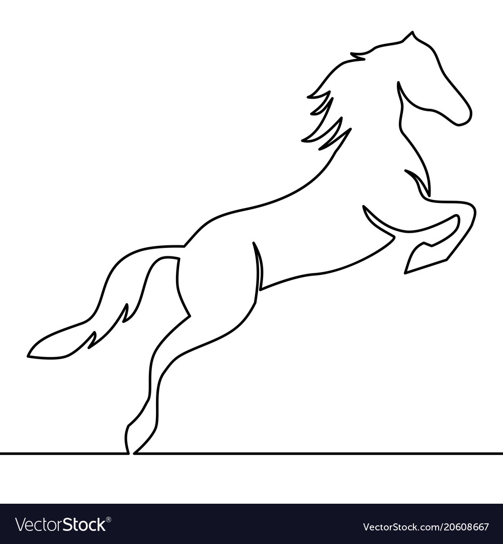 Continuous One Line Drawing Horse Logo Royalty Free Vector